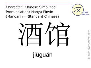 Caractère chinois  ( jiuguan / jiŭguăn ) avec prononciation (traduction française: (le) pub )