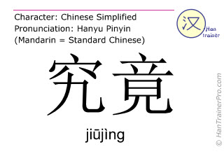 Chinese characters  ( jiujing / jiūjìng ) with pronunciation (English translation: after all )