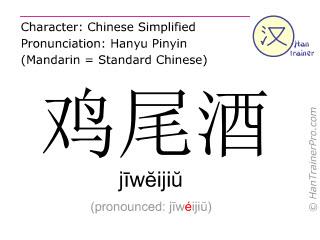 Caracteres chinos  ( jiweijiu / jīwĕijiŭ ) con pronunciación (traducción española: cóctel )