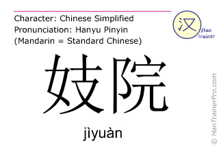 Chinese characters  ( jiyuan / jìyuàn ) with pronunciation (English translation: brothel )