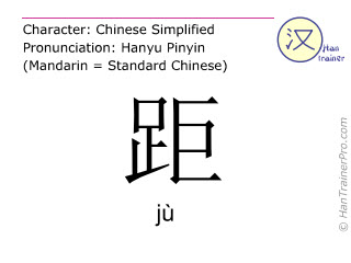Chinese characters  ( ju / jù ) with pronunciation (English translation: distance )