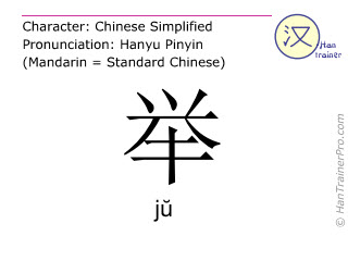 Chinese characters  ( ju / jŭ ) with pronunciation (English translation: to hold )