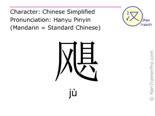 Chinese characters  ( ju / j&ugrave; ) with pronunciation (English translation: <m>hurricane</m> )