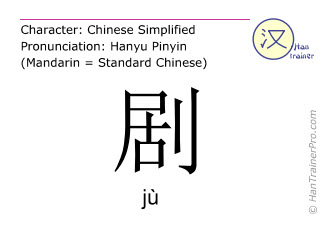 Chinese characters  ( ju / jù ) with pronunciation (English translation: play )