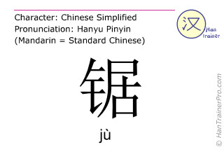 Chinese characters  ( ju / jù ) with pronunciation (English translation: saw )