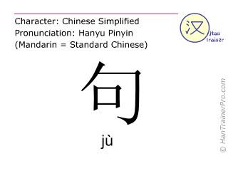 Chinesische Schriftzeichen  ( ju / jù ) mit Aussprache (Deutsche Bedeutung: Satz )