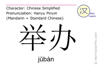 Chinese characters  ( juban / jŭbàn ) with pronunciation (English translation: to conduct )