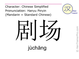 Chinese characters  ( juchang / jùch&#259ng ) with pronunciation (English translation: theatre )