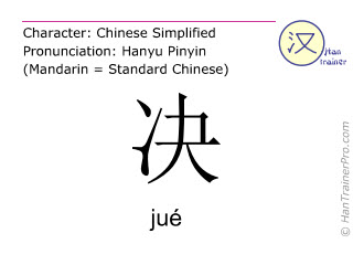 Chinese characters  ( jue / jué ) with pronunciation (English translation: definitely )