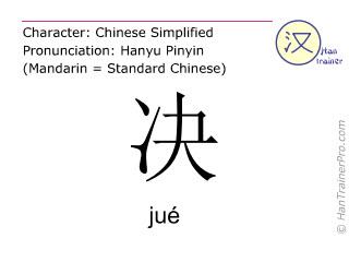 Caractère chinois  ( jue / jué ) avec prononciation (traduction française: décider )