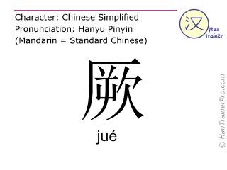 Chinesische Schriftzeichen  ( jue / jué ) mit Aussprache (Deutsche Bedeutung: in Ohnmacht fallen )