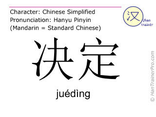 Caracteres chinos  ( jueding / juédìng ) con pronunciación (traducción española: decidir )