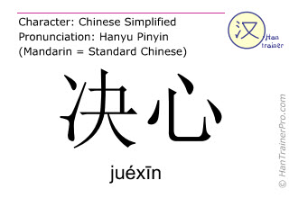 Chinese characters  ( juexin / juéxīn ) with pronunciation (English translation: determination )