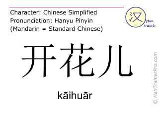 Chinesische Schriftzeichen  ( kaihuar / kāihuār ) mit Aussprache (Deutsche Bedeutung: blühen )