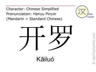 Caracteres chinos  ( Kailuo / Kāiluó ) con pronunciación (traducción española: El Cairo )