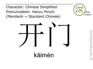 Chinese characters  ( kaimen / kāimén ) with pronunciation (English translation: to open )