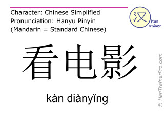 Chinese characters  ( kan dianying / kàn diànyĭng ) with pronunciation (English translation: to watch a movie )