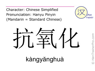 Chinese characters  ( kangyanghua / kàngyănghuà ) with pronunciation (English translation: antioxidant )