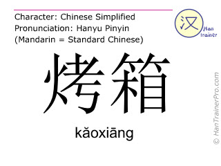 Chinese characters  ( kaoxiang / kăoxiāng ) with pronunciation (English translation: oven )