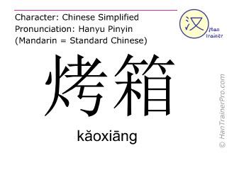 Chinesische Schriftzeichen  ( kaoxiang / kăoxiāng ) mit Aussprache (Deutsche Bedeutung: Ofen )