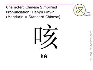 Caracteres chinos  ( ke / ké ) con pronunciación (traducción española: toser )