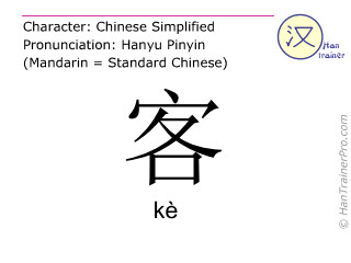 Chinese characters  ( ke / kè ) with pronunciation (English translation: guest )