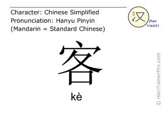 Caractère chinois  ( ke / kè ) avec prononciation (traduction française: invité )