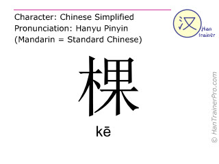 Chinese characters  ( ke / k&#275 ) with pronunciation (English translation: <i>classifier (for plants)</i> )