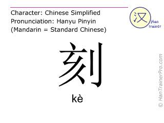 Caractère chinois  ( ke / kè ) avec prononciation (traduction française: quart d'heure )