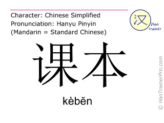Chinese characters  ( keben / kèbĕn ) with pronunciation (English translation: textbook )