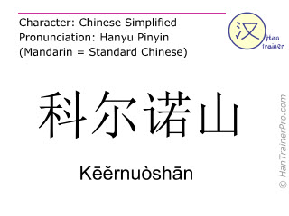 Chinese characters  ( Keernuoshan / Kēĕrnuòshān ) with pronunciation (English translation: Corno )