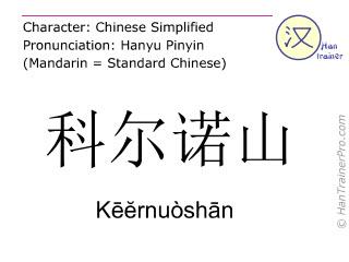 汉字  ( Keernuoshan / Kēĕrnuòshān ) 包括发音 (英文翻译: Corno )