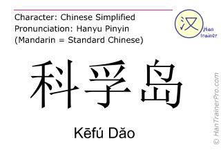 Caracteres chinos  ( Kefu Dao / Kēfú Dăo ) con pronunciación (traducción española: Corfú )