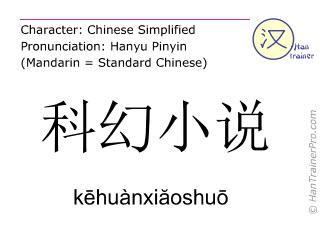 汉字  ( kehuanxiaoshuo / kēhuànxiăoshuō ) 包括发音 (英文翻译: science fiction novel )