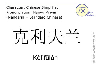 Chinese characters  ( Kelifulan / Kèlìf&#363lán ) with pronunciation (English translation: Cleveland )