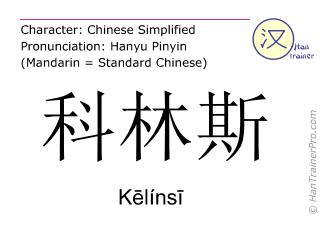 Chinese characters  ( Kelinsi / Kēlínsī ) with pronunciation (English translation: Corinth )