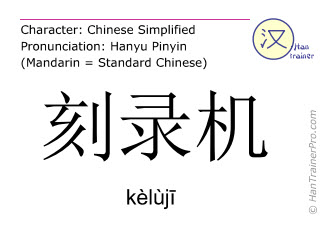 Chinese characters  ( keluji / kèlùj&#299 ) with pronunciation (English translation: CD writer )