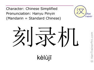 Chinese characters  ( keluji / kèlùjī ) with pronunciation (English translation: CD writer )