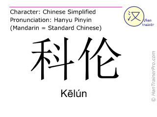 Chinese characters  ( Kelun / K&#275lún ) with pronunciation (English translation: Cologne )