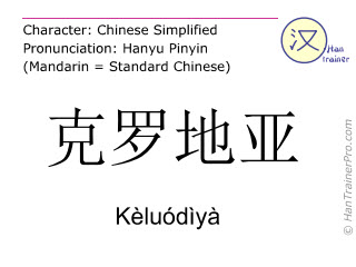 Chinese characters  ( Keluodiya / Kèluódìyà ) with pronunciation (English translation: Croatia )