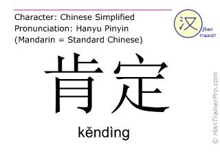 Chinesische Schriftzeichen  ( kending / kĕndìng ) mit Aussprache (Deutsche Bedeutung: bestätigen )