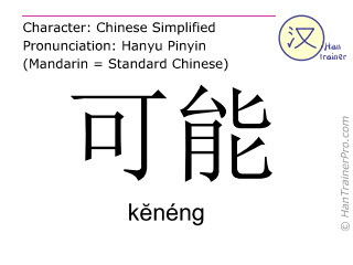 Chinesische Schriftzeichen  ( keneng / kĕnéng ) mit Aussprache (Deutsche Bedeutung: vielleicht )