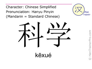 Chinese characters  ( kexue / kēxué ) with pronunciation (English translation: science )