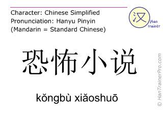 Caracteres chinos  ( kongbu xiaoshuo / kŏngbù xiăoshuō ) con pronunciación (traducción española: horror de la novela )