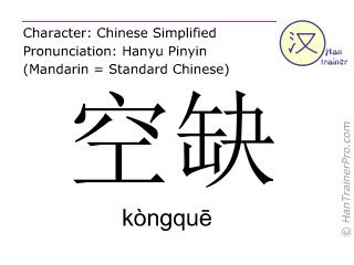 Chinese characters  ( kongque / kòngquē ) with pronunciation (English translation: vacancy )