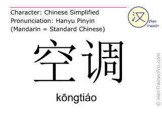 Chinese characters  ( kongtiao / kōngtiáo ) with pronunciation (English translation: air conditioning )