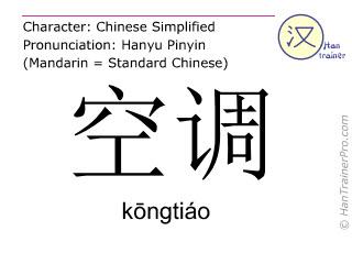 Chinesische Schriftzeichen  ( kongtiao / kōngtiáo ) mit Aussprache (Deutsche Bedeutung: Klimaanlage )