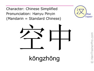 Chinese characters  ( kongzhong / kōngzhōng ) with pronunciation (English translation: air )