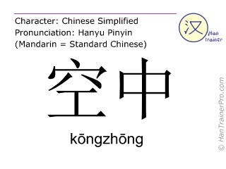 Caractère chinois  ( kongzhong / kōngzhōng ) avec prononciation (traduction française: air )