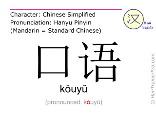 Caractère chinois  ( kouyu / kŏuyŭ ) avec prononciation (traduction française: la langue parlée )